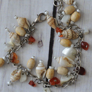 vintage silver chain bracelet natural shell charm